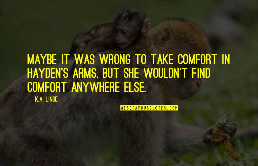 Take A Break Quotes By K.A. Linde: Maybe it was wrong to take comfort in