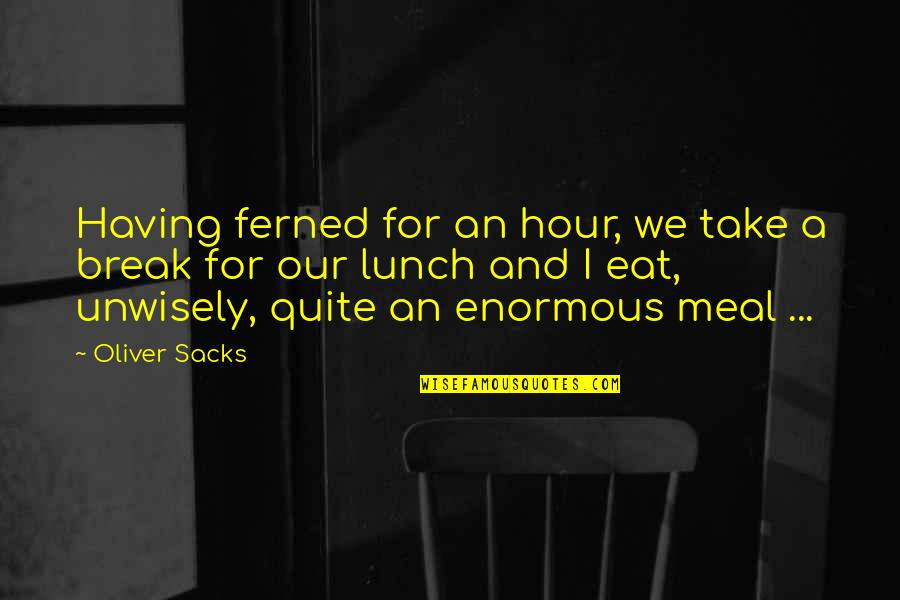 Take A Break Quotes By Oliver Sacks: Having ferned for an hour, we take a
