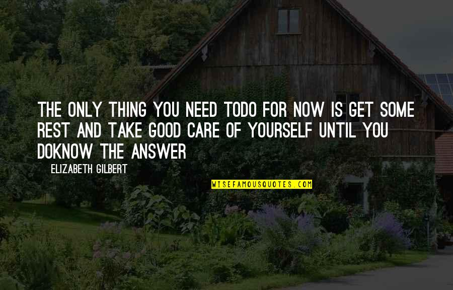 Take Care Of Yourself Quotes By Elizabeth Gilbert: The only thing you need todo for now