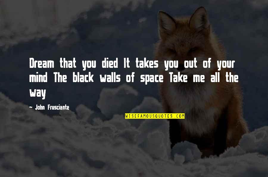 Take Me Out Quotes By John Frusciante: Dream that you died It takes you out
