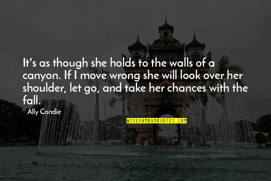Take No Chances Quotes By Ally Condie: It's as though she holds to the walls