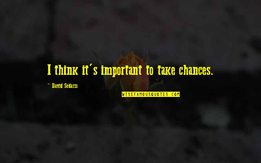 Take No Chances Quotes By David Sedaris: I think it's important to take chances.