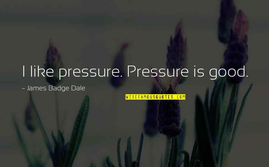 Takemoto Yuuta Quotes By James Badge Dale: I like pressure. Pressure is good.