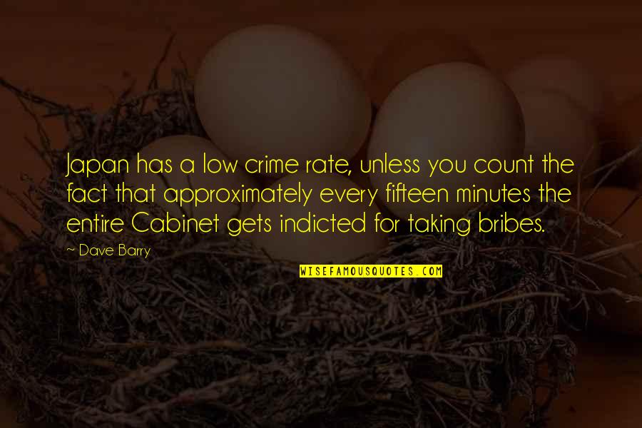 Taking Bribes Quotes By Dave Barry: Japan has a low crime rate, unless you