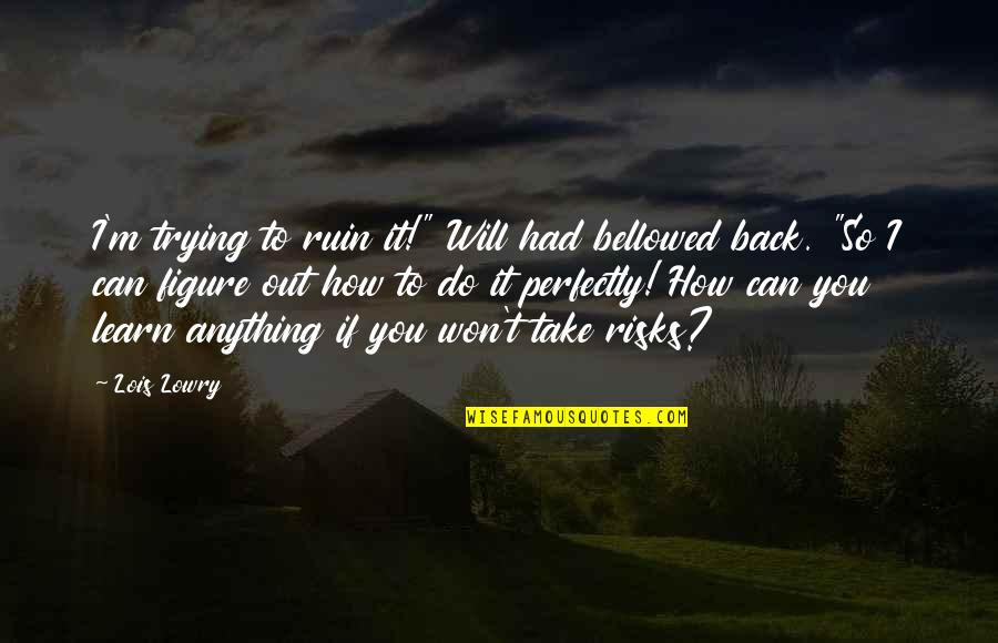 """Taking On Challenges Quotes By Lois Lowry: I'm trying to ruin it!"""" Will had bellowed"""