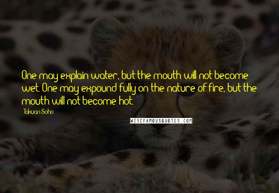 Takuan Soho quotes: One may explain water, but the mouth will not become wet. One may expound fully on the nature of fire, but the mouth will not become hot.