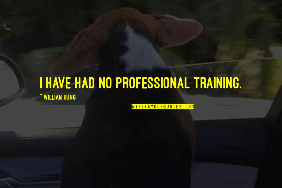 Talent Identification Quotes By William Hung: I have had no professional training.