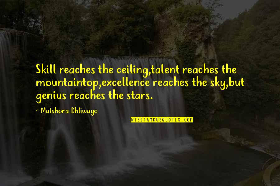 Talent Quotes And Quotes By Matshona Dhliwayo: Skill reaches the ceiling,talent reaches the mountaintop,excellence reaches