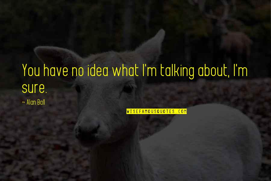 Talking About You Quotes By Alan Ball: You have no idea what I'm talking about,