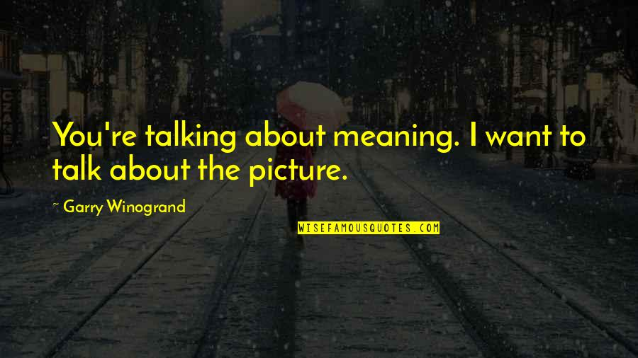 Talking About You Quotes By Garry Winogrand: You're talking about meaning. I want to talk