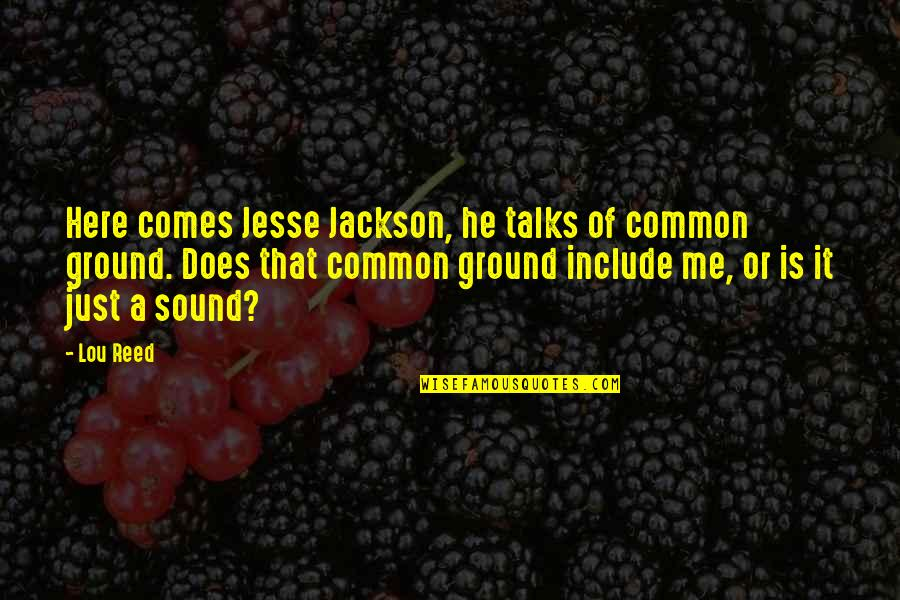 Talks Quotes By Lou Reed: Here comes Jesse Jackson, he talks of common