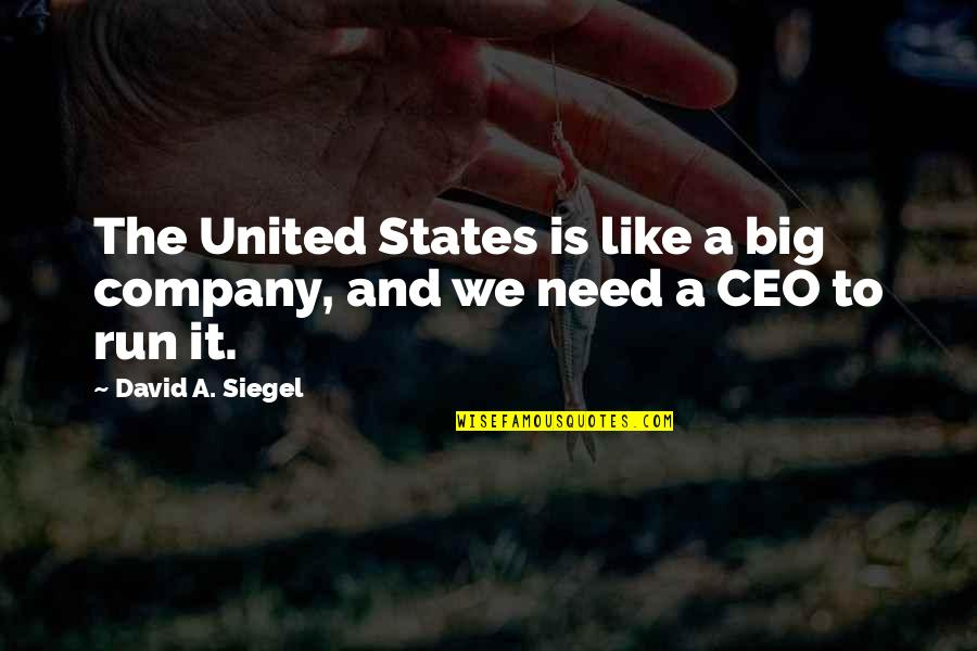 Talladega Nights Paralyzed Quotes By David A. Siegel: The United States is like a big company,