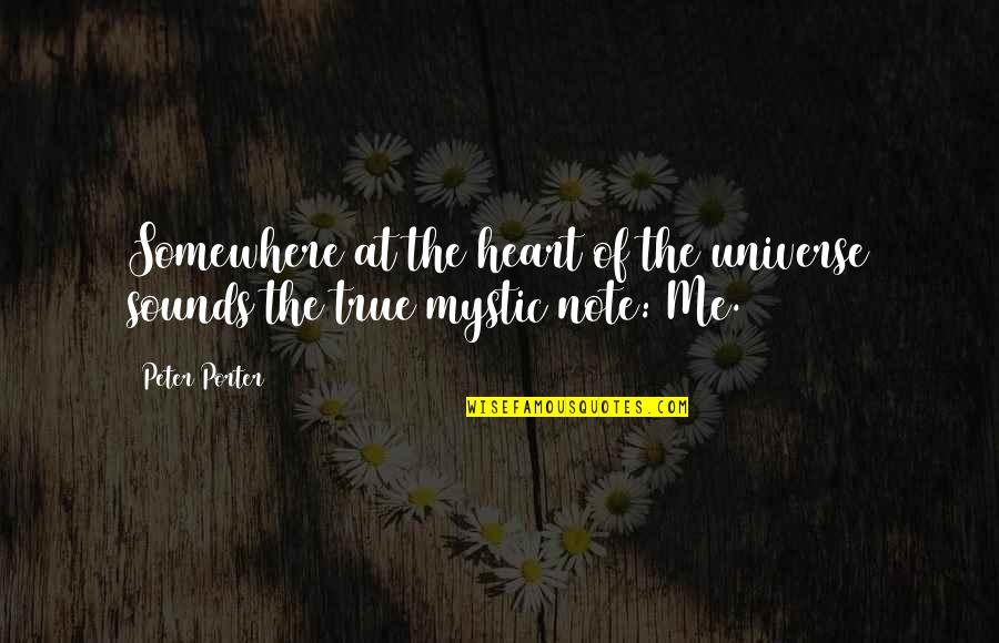 Tamim Bin Hamad Quotes By Peter Porter: Somewhere at the heart of the universe sounds