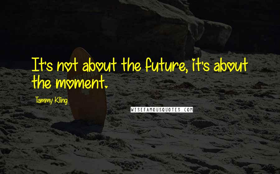 Tammy Kling quotes: It's not about the future, it's about the moment.