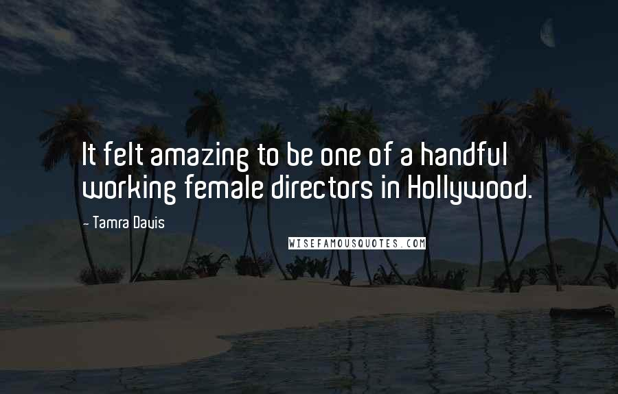 Tamra Davis quotes: It felt amazing to be one of a handful working female directors in Hollywood.