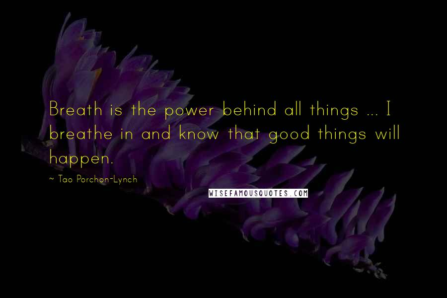 Tao Porchon-Lynch quotes: Breath is the power behind all things ... I breathe in and know that good things will happen.