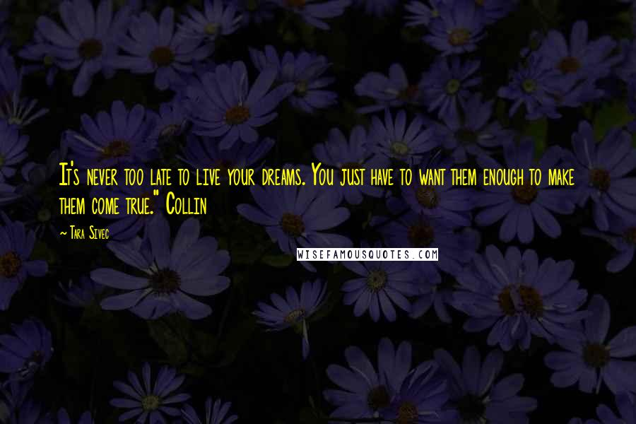 """Tara Sivec quotes: It's never too late to live your dreams. You just have to want them enough to make them come true."""" Collin"""