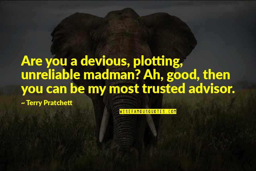 Targets Funny Quotes By Terry Pratchett: Are you a devious, plotting, unreliable madman? Ah,