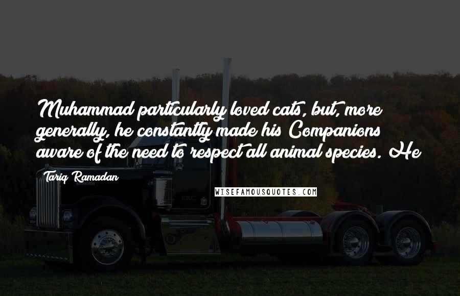 Tariq Ramadan quotes: Muhammad particularly loved cats, but, more generally, he constantly made his Companions aware of the need to respect all animal species. He