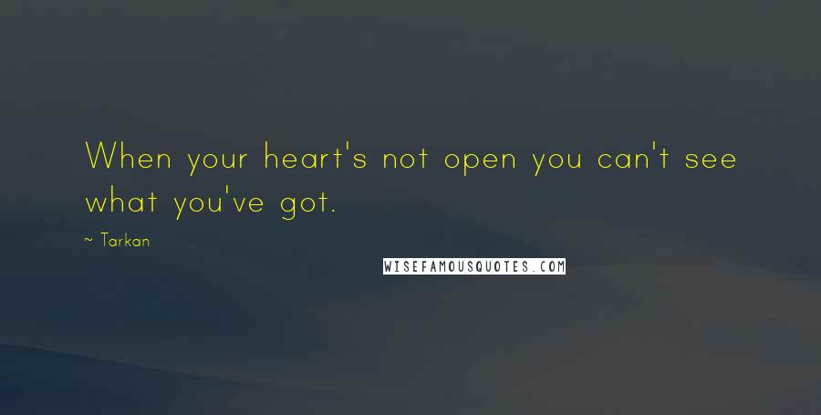 Tarkan quotes: When your heart's not open you can't see what you've got.