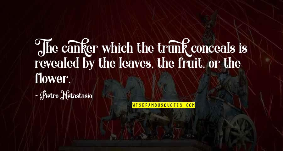 Tarun Sagar Ji Quotes By Pietro Metastasio: The canker which the trunk conceals is revealed
