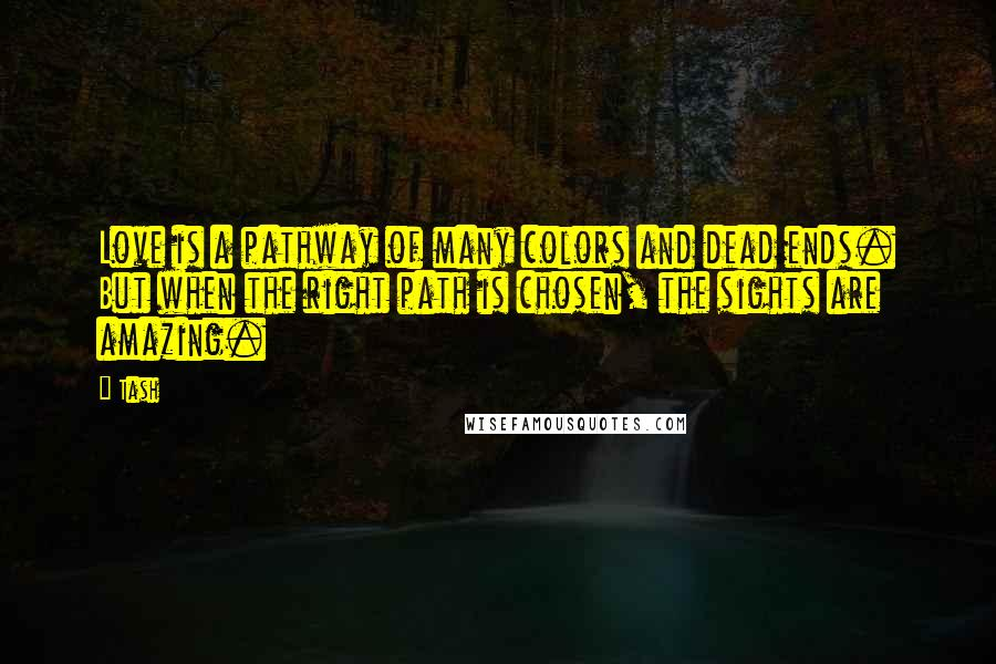 Tash quotes: Love is a pathway of many colors and dead ends. But when the right path is chosen, the sights are amazing.