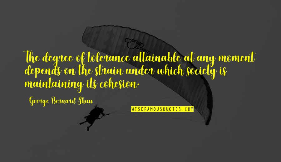 Tattooine Quotes By George Bernard Shaw: The degree of tolerance attainable at any moment