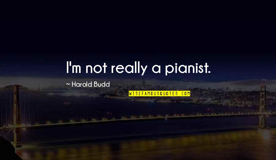 Tau Gamma Sigma Quotes By Harold Budd: I'm not really a pianist.