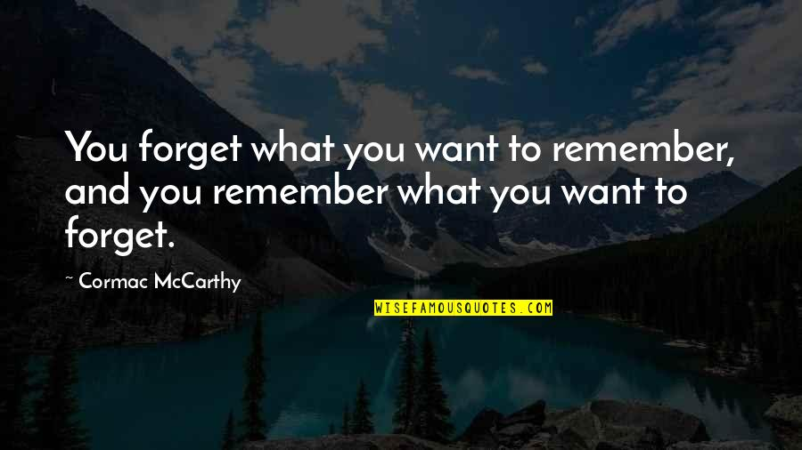 Taxing The Rich Quotes By Cormac McCarthy: You forget what you want to remember, and