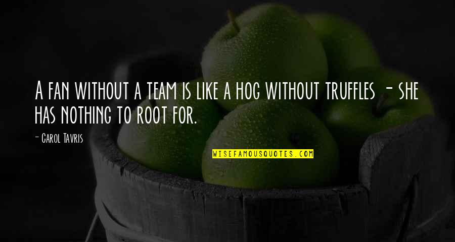 Team Sports Quotes By Carol Tavris: A fan without a team is like a