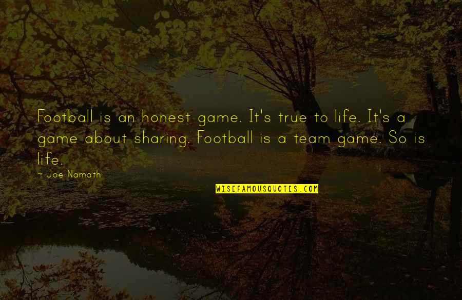 Team Sports Quotes By Joe Namath: Football is an honest game. It's true to