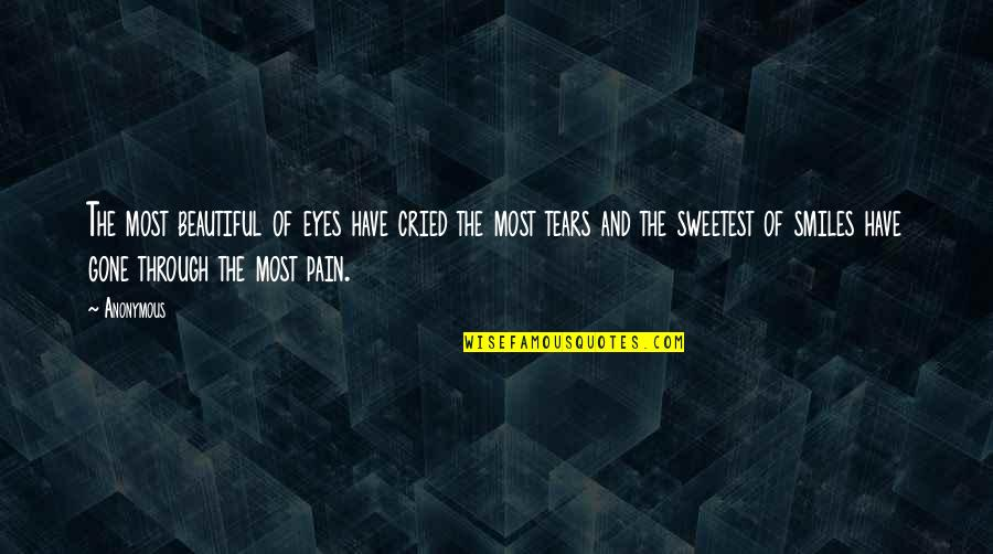 Tears And Pain Quotes By Anonymous: The most beautiful of eyes have cried the