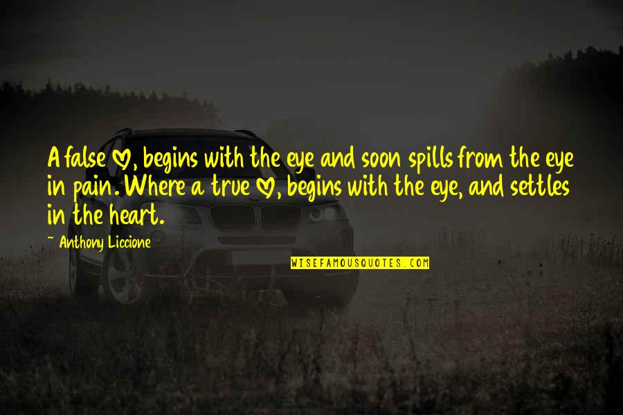 Tears And Pain Quotes By Anthony Liccione: A false love, begins with the eye and