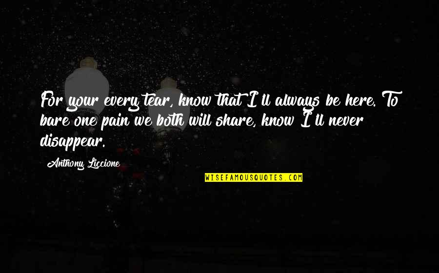 Tears And Pain Quotes By Anthony Liccione: For your every tear, know that I'll always