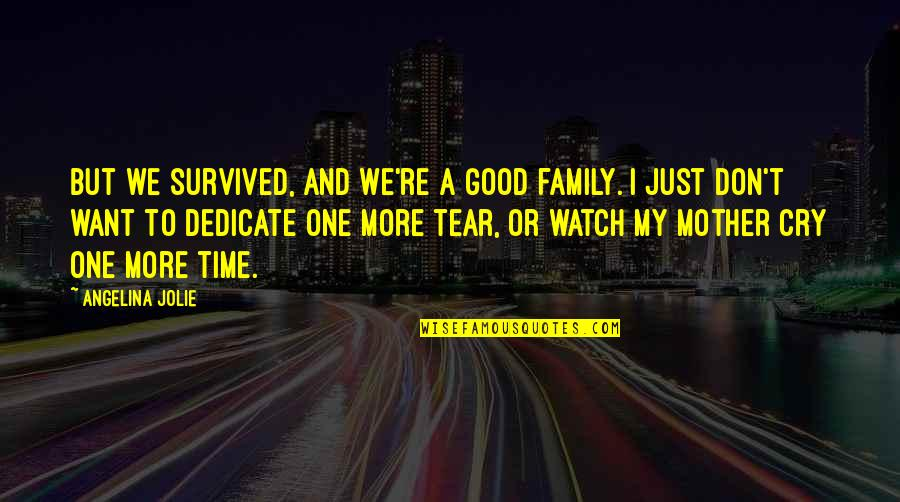Tears I Cry Quotes By Angelina Jolie: But we survived, and we're a good family.