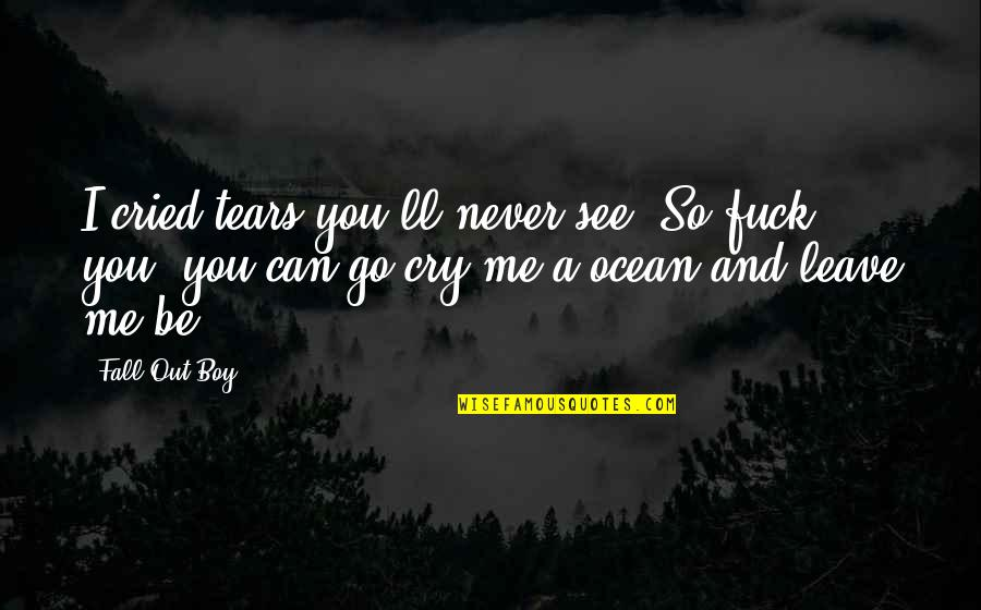 Tears I Cry Quotes By Fall Out Boy: I cried tears you'll never see. So fuck