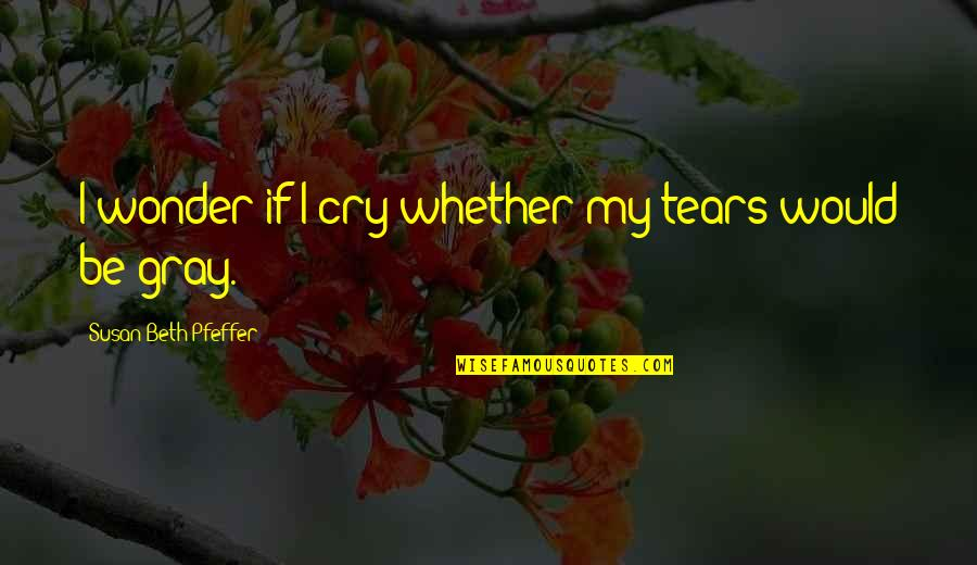 Tears I Cry Quotes By Susan Beth Pfeffer: I wonder if I cry whether my tears