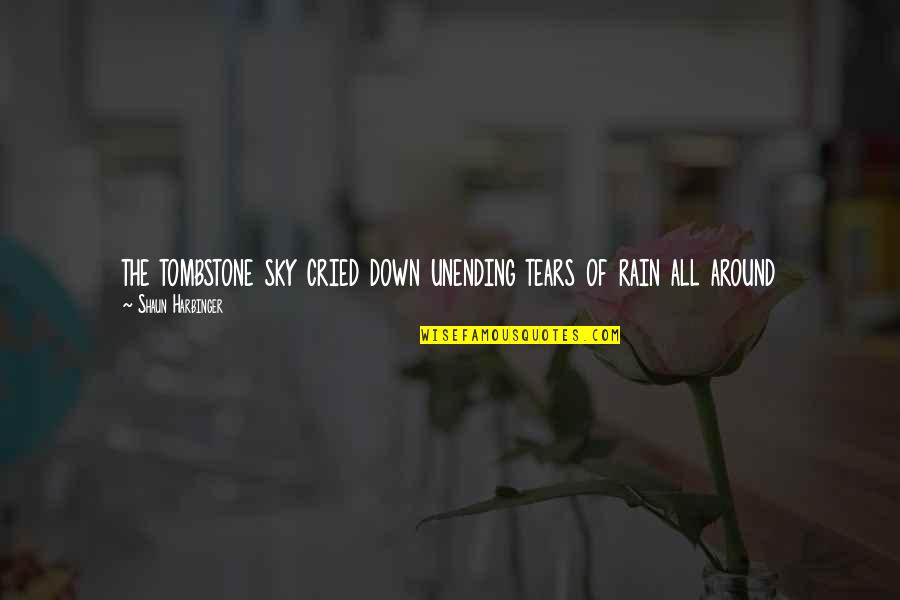Tears I've Cried Quotes By Shaun Harbinger: the tombstone sky cried down unending tears of