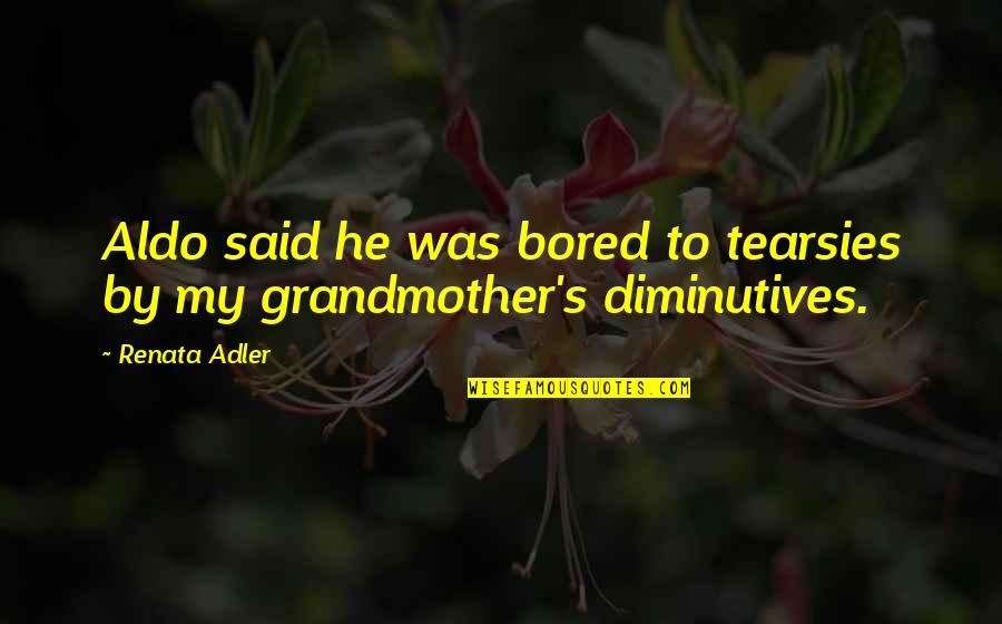 Tearsies Quotes By Renata Adler: Aldo said he was bored to tearsies by