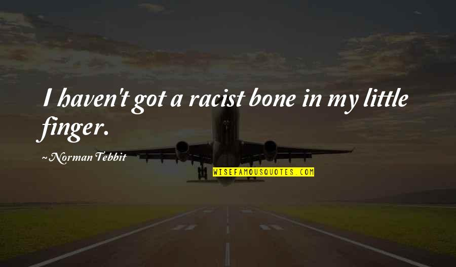 Tebbit Quotes By Norman Tebbit: I haven't got a racist bone in my