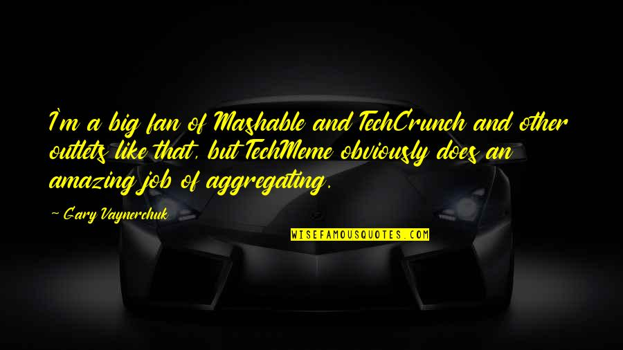Techcrunch Quotes By Gary Vaynerchuk: I'm a big fan of Mashable and TechCrunch