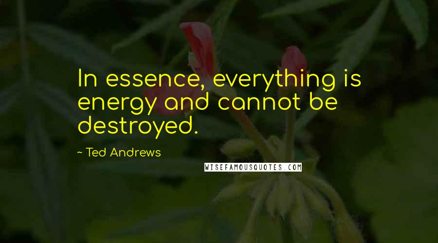 Ted Andrews quotes: In essence, everything is energy and cannot be destroyed.