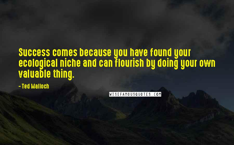 Ted Malloch quotes: Success comes because you have found your ecological niche and can flourish by doing your own valuable thing.