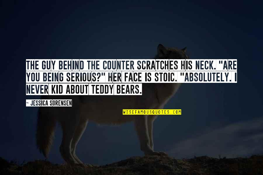 Teddy Bear Quotes By Jessica Sorensen: The guy behind the counter scratches his neck.
