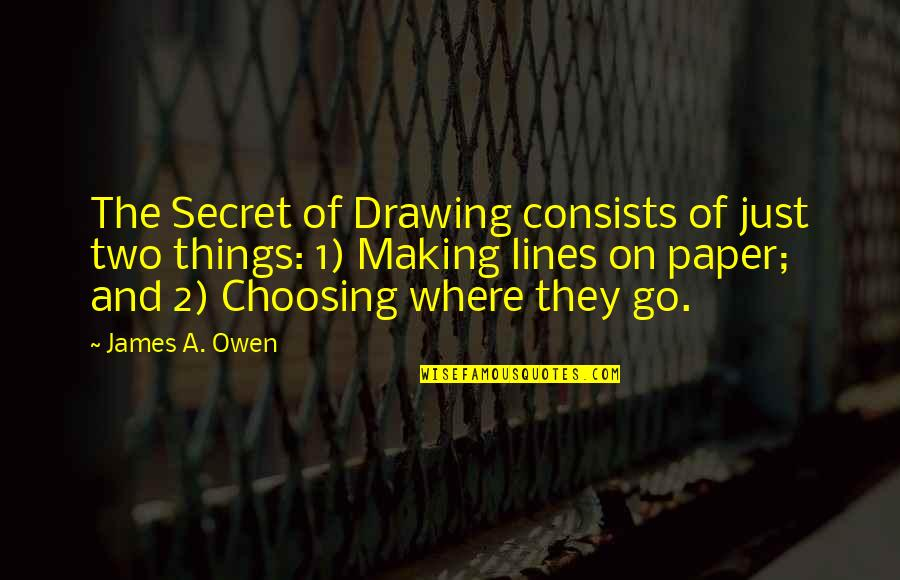 Teeniest Quotes By James A. Owen: The Secret of Drawing consists of just two