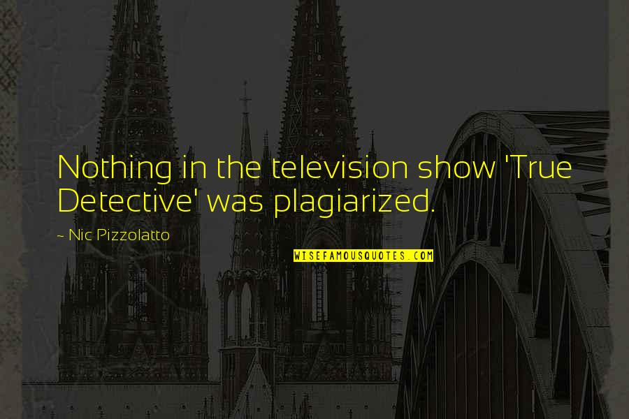 Television Quotes By Nic Pizzolatto: Nothing in the television show 'True Detective' was