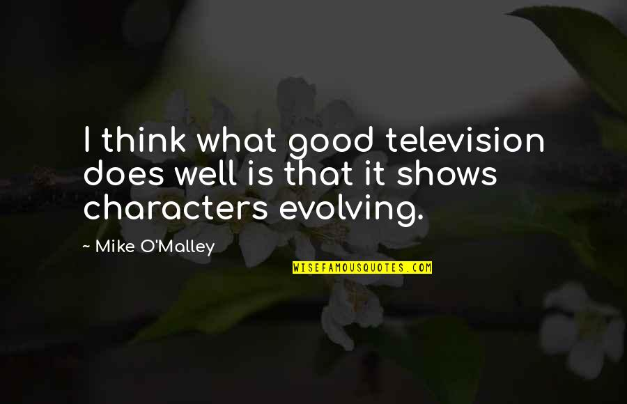 Television Shows Quotes By Mike O'Malley: I think what good television does well is