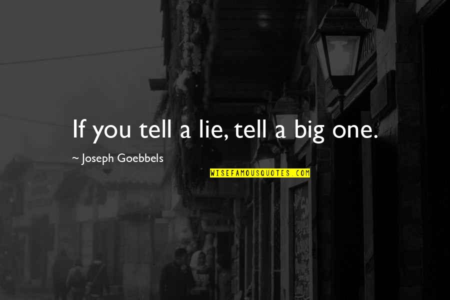 Tell No Lie Quotes By Joseph Goebbels: If you tell a lie, tell a big