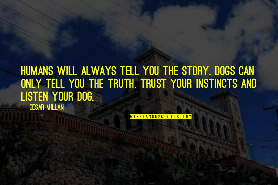 Tell Your Story Quotes By Cesar Millan: Humans will always tell you the story. Dogs