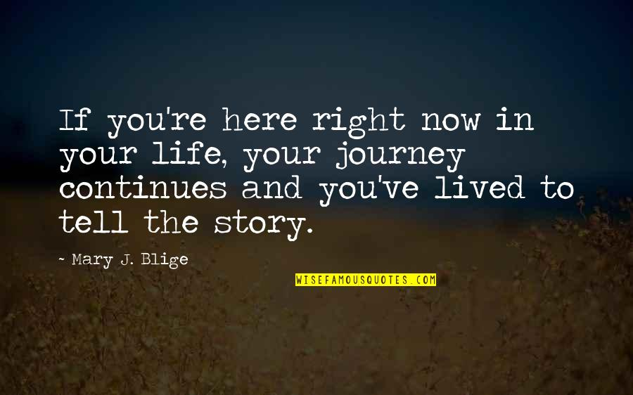 Tell Your Story Quotes By Mary J. Blige: If you're here right now in your life,